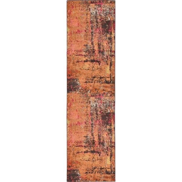 Orange/Brown Abstract Runner Rug (2'7 x 10')