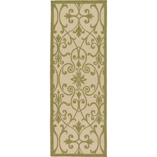 Outdoor Beige/Brown Medallion Runner Rug (2'2 x 6')