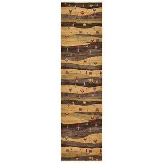 Nomad Tan/Brown Abstract Runner Rug (2'7 x 10')