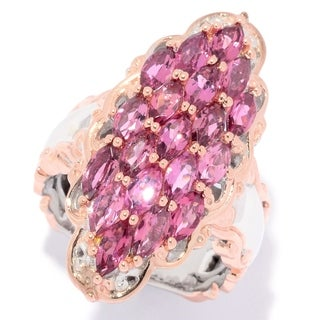 Michael Valitutti Palladium Silver Pink Tourmaline 19-Stone Elongated Ring