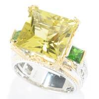 Michael Valitutti Palladium Silver Princess Cut Ouro Verde & Chrome Diopside Three-Stone Ring - Green