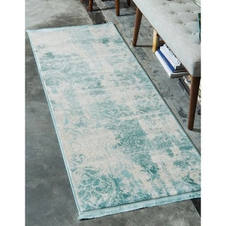 Arcadia Grey/Off-White Abstract Runner Rug (2'7 x 10')