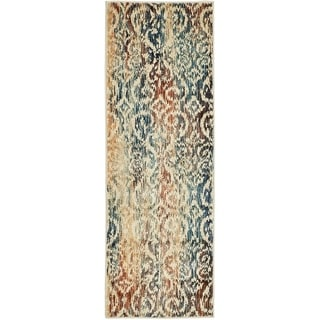Ethereal Blue/Cream Abstract Runner Rug (2' x 6')