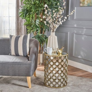 Ezri Mirrored Honeycomb Accent Table by Christopher Knight Home