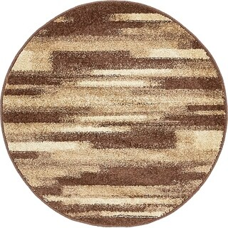 Harvest Multi/Brown Abstract Round Rug (3' 3 x 3' 3)
