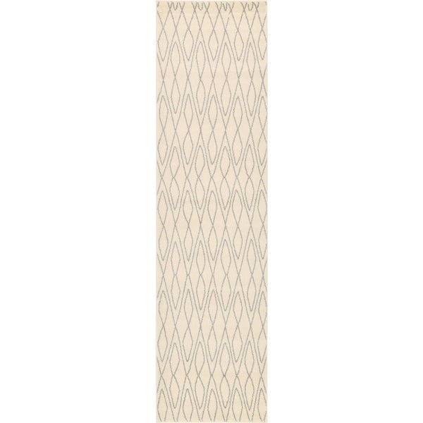 Morocco Ivory/Grey Geometric Runner Rug (2'7 x 10')