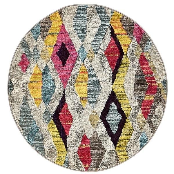 Sedona Multi/Pink Moroccan Round Rug (3' 3 x 3' 3)