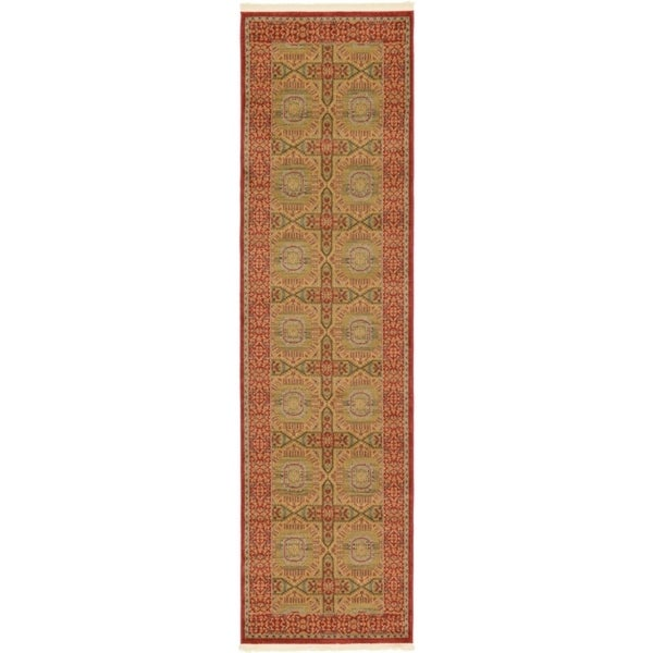 Palace Red  Southwestern Floral Runner Rug (2'7 x 10')