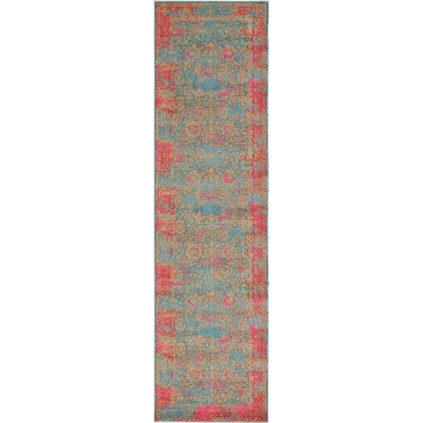 Palazzo Blue/Pink Floral Runner Rug (2'7 x 10')
