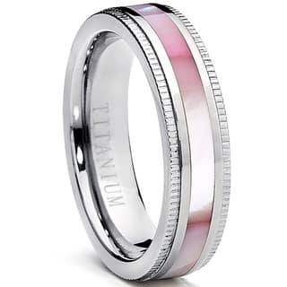 Oliveti Women's Titanium Ring with Pink Mother of Pearl Inlay Band 6mm|https://ak1.ostkcdn.com/images/products/17491428/P23719582.jpg?impolicy=medium