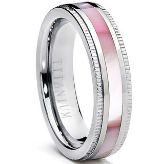 Oliveti Women's Titanium Ring with Pink Mother of Pearl Inlay Band 6mm (More options available)