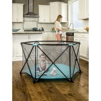 My Play, 6 Panel Portable Play Yard Aqua - Black