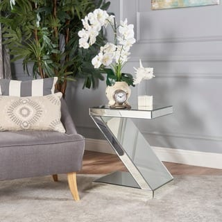 mirrored living room furniture. Auda Mirrored Z Shaped Side Table by Christopher Knight Home Living Room Furniture For Less  Overstock com