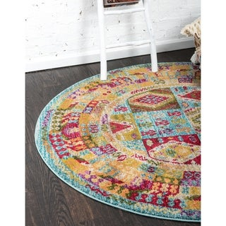 Sedona Light Blue/Red Patchwork Round Rug (3' 3 x 3' 3)