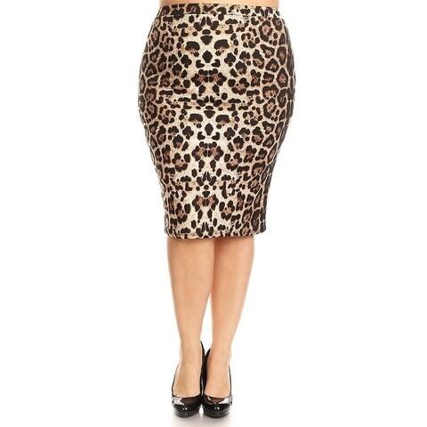 Women's Plus Size Leopard Print Pencil Skirt