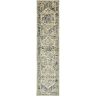 Copenhagen Beige Transitional Border Runner Rug (2' 7 x 13')