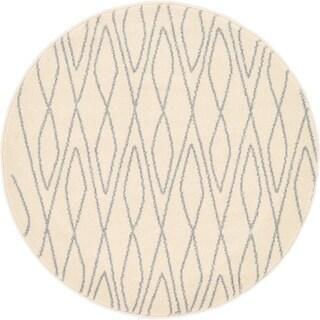 Morocco Ivory/Cream Moroccan Round Rug (3' 3 x 3' 3)
