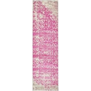 Mirage Pink/Cream Abstract Runner Rug (3' x 10')