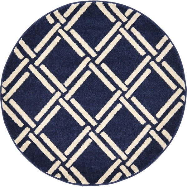 Trellis Navy Blue/Cream Trellis Round Rug (3' 3 x 3' 3)