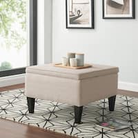 Clay Alder Home Pope Street Oatmeal Linen Storage Ottoman