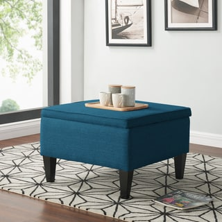 Handy Living Courtney Peacock Blue Linen Storage Ottoman