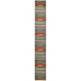 Nomad Blue/Brown Abstract Runner Rug (2'7 x 19'8)
