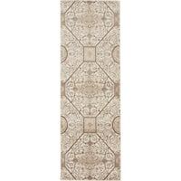 Himalaya Cream/Brown Geometric Runner Rug (2' x 6')