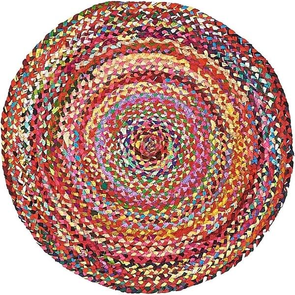 Braided Chindi Multi/Orange Abstract Round Rug (3' 3 x 3' 3)