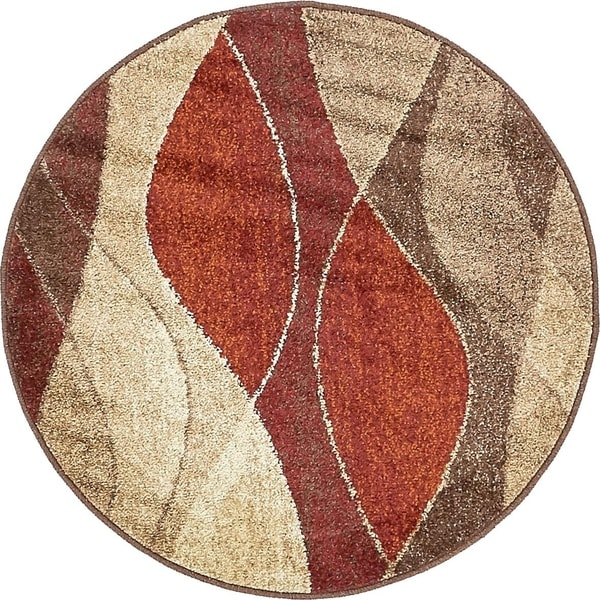 Harvest Multi  Modern Abstract Round Rug (3' 3 x 3' 3)