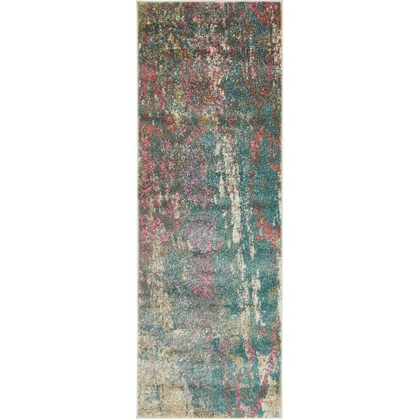 Stockholm Blue/Green Abstract Runner Rug (2'2 x 6')