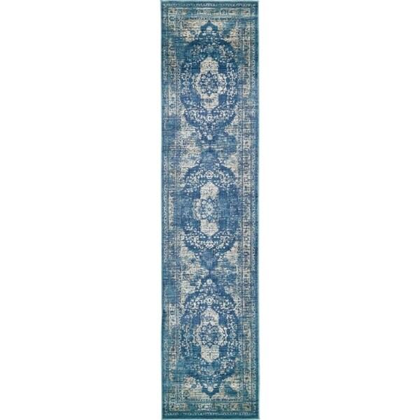 Copenhagen Navy Blue  Floral Runner Rug (3' x 13')
