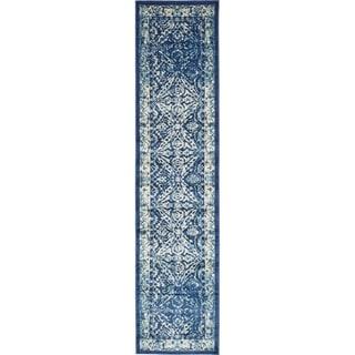 Copenhagen Navy Blue  Transitional Floral Runner Rug (3' x 13')