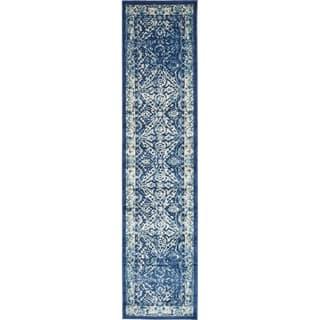 Copenhagen Navy Blue Transitional Floral Runner Rug (3' x 13')|https://ak1.ostkcdn.com/images/products/17492297/P23720577.jpg?impolicy=medium