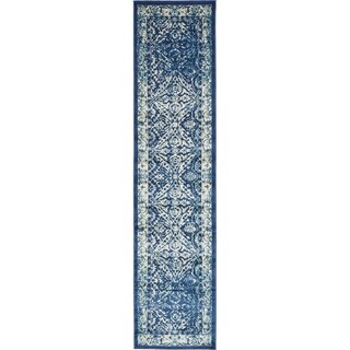 Copenhagen Navy Blue Transitional Floral Runner Rug (3' x 13')