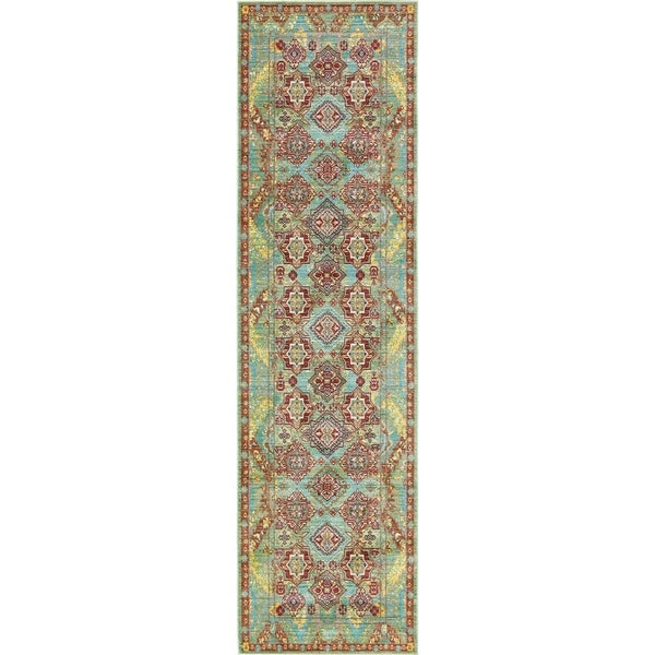 Aria Green/Brown Floral Runner Rug (2'7 x 9'10)