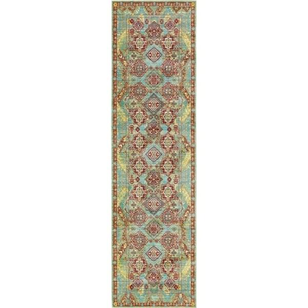 Aria Green/Brown Floral Runner Rug (2'7 x 9'10)