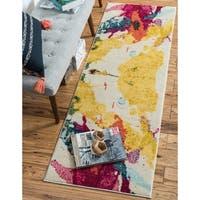 Beige/Yellow Abstract Runner Rug (2'2 x 6'7)