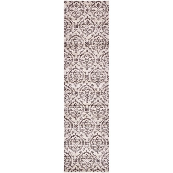 Damask Beige/Grey Abstract Runner Rug (2'7 x 10')