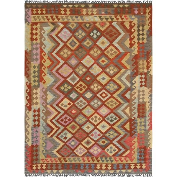 "Anatolian Kilim Collection Multi Hand-Woven Wool Area Rug (6' 8"" X 9' 6"")"