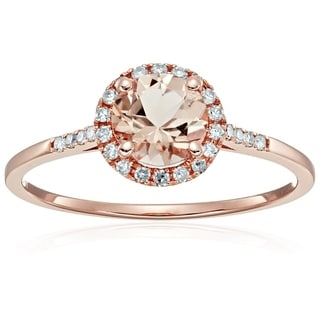 10k Rose Gold Morganite Diamond Princess Diana Halo Ring, Sz 7 - Pink