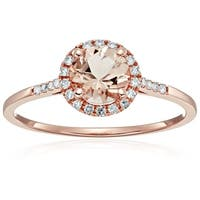 Pinctore 10k Rose Gold Morganite Diamond Princess Diana Halo Ring, Sz 7 - Pink