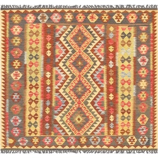 "Kilim Anatolian Collection Hand-Woven Lamb's Wool Area Rug (6' 3"" X 6' 8"") - Multi - 6' x 7'"