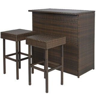 ALEKO Chestnut Rattan Wicker Backyard Bar Set Outside Furniture 3 Pcs