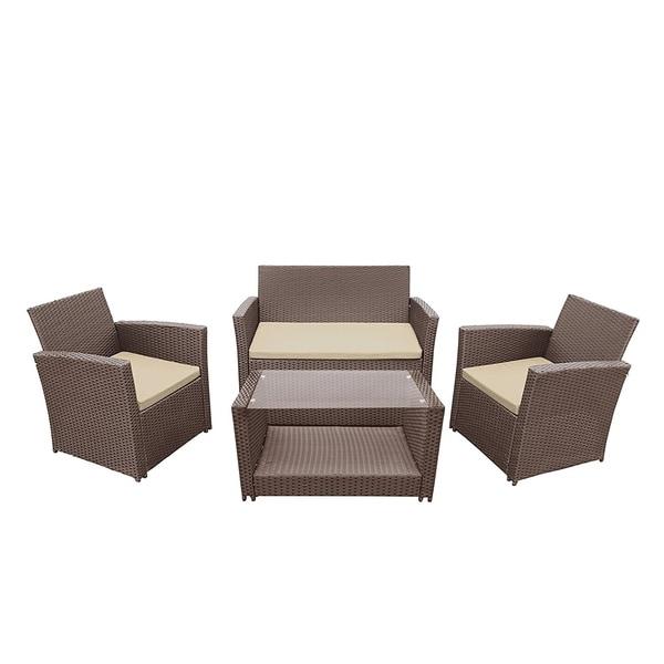 Shop Aleko Lipari Set Rattan Wicker Furniture 4 Piece Indoor Outdoor