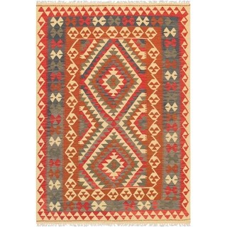 "Pasargad Anatolian Kilim Collection Hand-Woven Wool Area Rug (4' 7"" X 6'10"")"