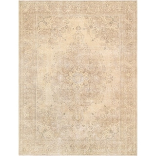 "Vintage Overdye Beige Collection Hand-Knotted Wool Area Rug (9' 5"" X 12' 7"")"