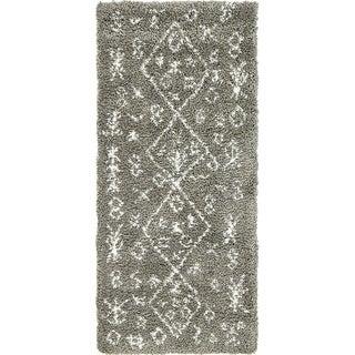 Marrakesh Shag Grey Moroccan Abstract Runner Rug (2' 7 x 6')