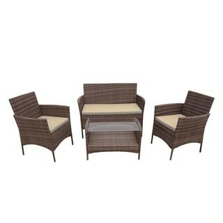 ALEKO Caprera Set Rattan Wicker Furniture 4-Piece Indoor Outdoor Set