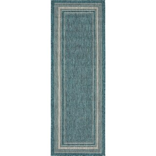 Unique Loom Soft Border Outdoor Runner Rug - 2' x 6'