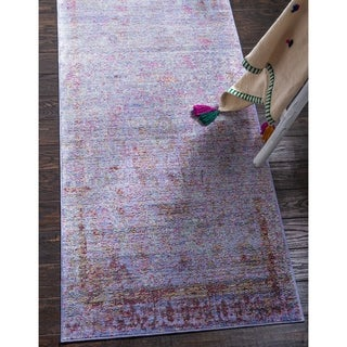 Aria Violet/Off-White Border Runner Rug (2'7 x 9'10)